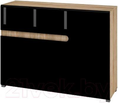 Тумба Мебель-Неман Леонардо МН-026-16 (черный полуглянец/дуб Сонома)