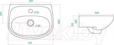 Умывальник Santek Анимо 40 (WH110490) - схема