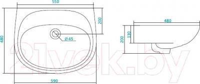 Умывальник Santek Анимо 60 (WH110505) - схема