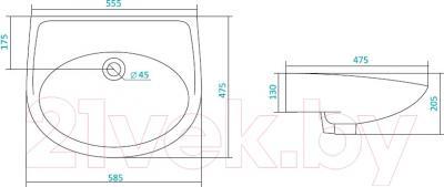 Умывальник Santek Бореаль 60 (WH110481) - схема