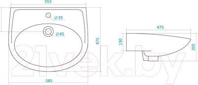 Умывальник Santek Бореаль 60 (WH110484) - схема
