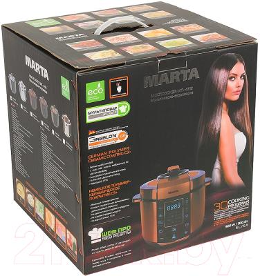 Мультиварка-скороварка Marta MT-4312 (черный/сталь) - коробка