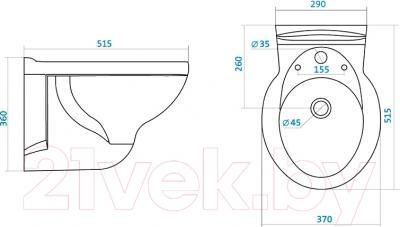 Биде подвесное Santek Консул (WH301658) - размеры