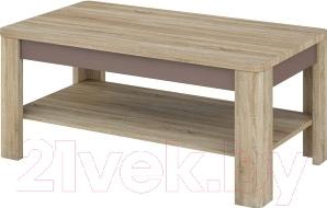 Журнальный столик Мебель-Неман Леонардо МН-221-01 (св.-коричневый глянец/дуб Сонома)