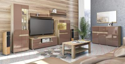 Журнальный столик Мебель-Неман Леонардо МН-221-01 (св.-коричневый глянец/дуб Сонома) - в интерьере