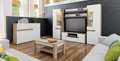Полка Мебель-Неман Леонардо МН-026-05 (белый полуглянец/дуб Сонома) - в интерьере