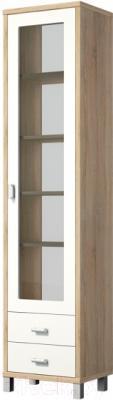Шкаф-пенал Мебель-Неман Домино Сонома ВК-04-02 (белый полуглянец/дуб Сонома)