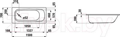 Ванна стальная Laufen Pro 150x70 (221950) - схема