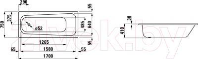 Ванна стальная Laufen Pro 170x75 (225950) - схема