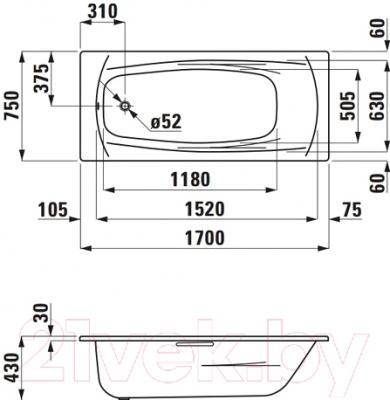 Ванна стальная Laufen Palladium 170x75 (225110)
