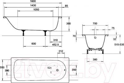 Ванна стальная Kaldewei Eurowa 160x70 - схема