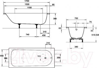 Ванна стальная Kaldewei Eurowa 170x70 - схема