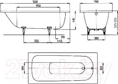 Ванна стальная Kaldewei Saniform Plus 350 150x70 (easy-clean antislip) - схема