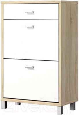 Тумба для обуви Мебель-Неман Домино Сонома ВК-04-23 (белый полуглянец/дуб Сонома)