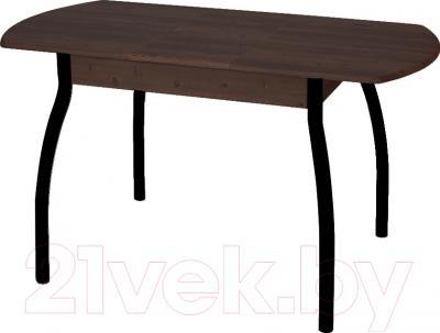 Обеденный стол Древпром М7 100х67 (черный кроко/орех) - в разложенном виде