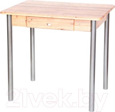 Обеденный стол Древпром С ящиком 80x60 (металлик/дуб светлый)