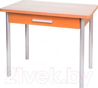 Обеденный стол Древпром М20 90x60 с ящиком (металлик/ольха)
