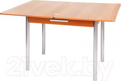 Обеденный стол Древпром М20 90x60 с ящиком (металлик/ольха) - в разложенном виде