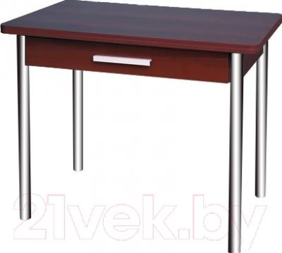 Обеденный стол Древпром М20 90x60 с ящиком (гальваника/орех)