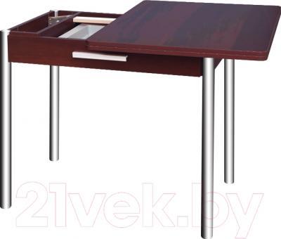 Обеденный стол Древпром М20 90x60 с ящиком (гальваника/орех) - в процессе раскладки