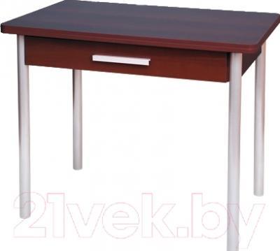 Обеденный стол Древпром М20 90x60 с ящиком (металлик/орех)