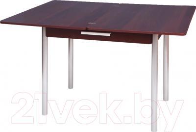 Обеденный стол Древпром М20 90x60 с ящиком (металлик/орех) - в разложенном виде