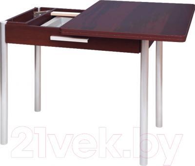 Обеденный стол Древпром М20 90x60 с ящиком (металлик/орех) - в процессе раскладки