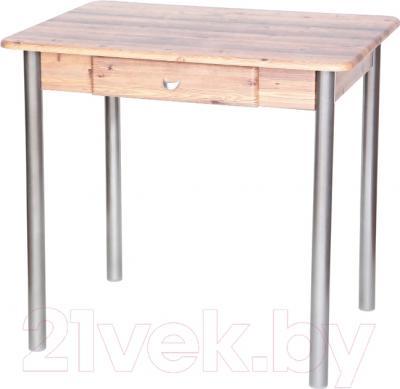 Обеденный стол Древпром С ящиком 80х60 (металлик/дуб сонома)