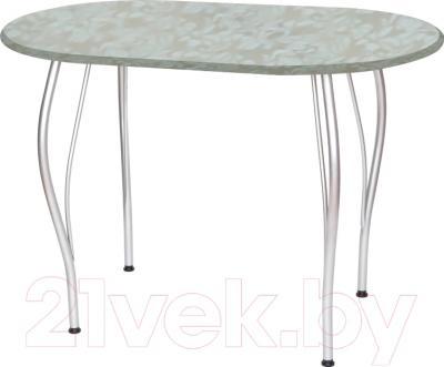 Обеденный стол Древпром Грация 110x68 (металлик/гобелен платина)
