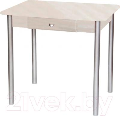 Обеденный стол Древпром С ящиком 80х60 (металлик/жемчуг)