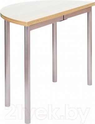 Обеденный стол Древпром М2 90х50 (жемчуг/металлик) - в сложенном виде
