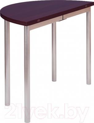 Обеденный стол Древпром М2 90х50 (орех/металлик) - в сложенном виде