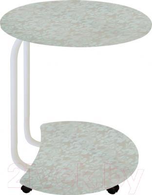 Сервировочный столик Древпром Придиванный (белый антик/гобелен платиновый)