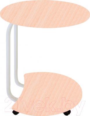 Сервировочный столик Древпром Придиванный (белый антик/дуб беленый рифленый)