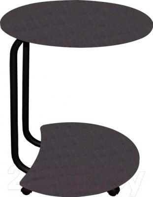 Сервировочный столик Древпром Придиванный (черный матовый/черная кожа)