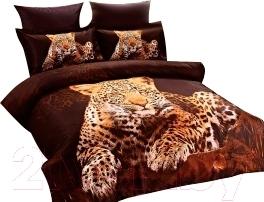 Комплект постельного белья Arya Сатин Печатное 3D Leopard (200x220)