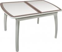 Обеденный стол Древпром Альба 113х71 Греческий Орнамент (антик белый/патина 27) -