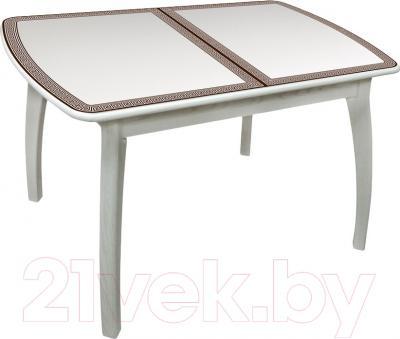 Обеденный стол Древпром Альба 113х71 Греческий Орнамент (антик белый/патина 27)