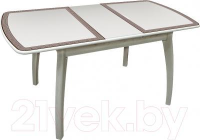 Обеденный стол Древпром Альба 113х71 Греческий Орнамент (антик белый/патина 27) - в разложенном виде