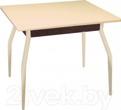 Обеденный стол Древпром Алиот 90x60 (беж. мрамор/бежевое стекло/орех)