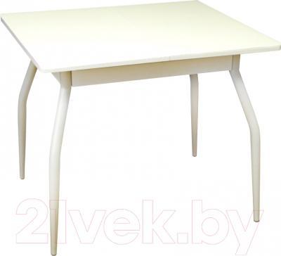 Обеденный стол Древпром Алиот 90x60 (антик белый/белое стекло/белый)