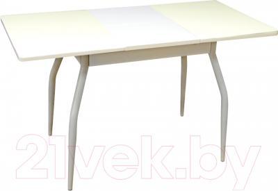 Обеденный стол Древпром Алиот 90x60 (антик белый/белое стекло/белый) - в разложенном виде