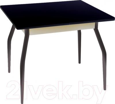 Обеденный стол Древпром Алиот 90x60 (черный глянец/черн. стекло/белый)