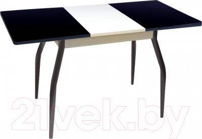 Обеденный стол Древпром Алиот 90x60 (черный глянец/черн. стекло/белый) - в разложенном виде