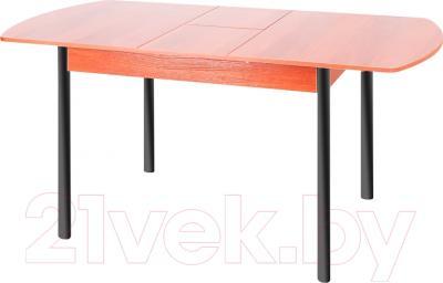 Обеденный стол Древпром М3 120х78 (черный матовый/ольха) - в разложенном виде