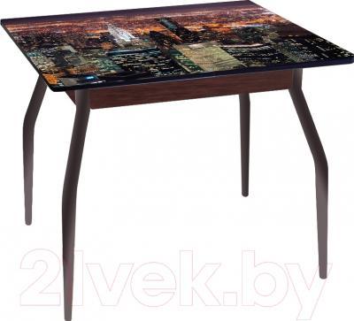 Обеденный стол Древпром Алиот 90x60 (черный матовый/город черный/орех)