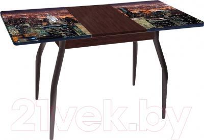 Обеденный стол Древпром Алиот 90x60 (черный матовый/город черный/орех) - в разложенном виде