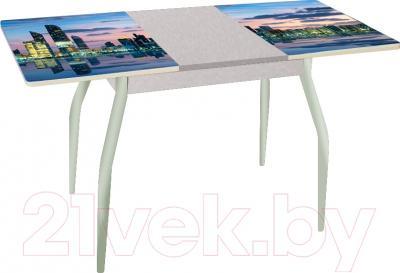 Обеденный стол Древпром Алиот 90x60 (металлик/город на воде/металлик) - в разложенном виде