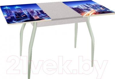Обеденный стол Древпром Алиот 90x60 (металлик/город синий/металлик) - в разложенном виде