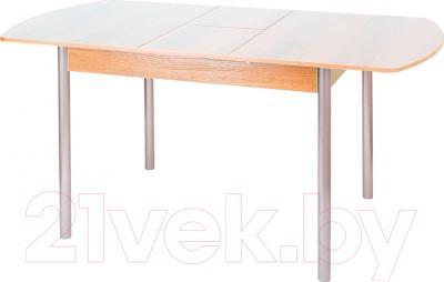 Обеденный стол Древпром М3 120х78 (металлик/ясень) - в разложенном виде